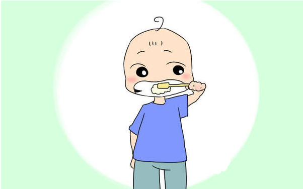 孩子刷牙矢量图